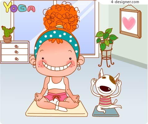 Big Head Girl Yoga vector material