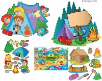 Camping cartoon illustration vector material