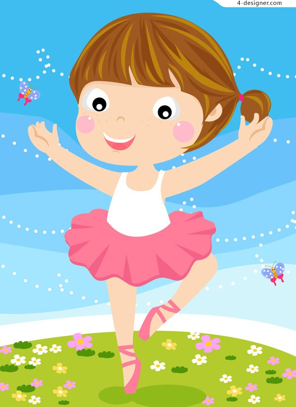 Cartoon Ballet Girl vector material