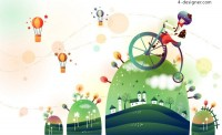 Cartoon Cycling vector material