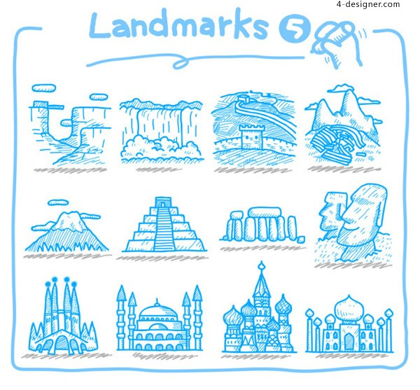 Cartoon Famous Buildings vector material
