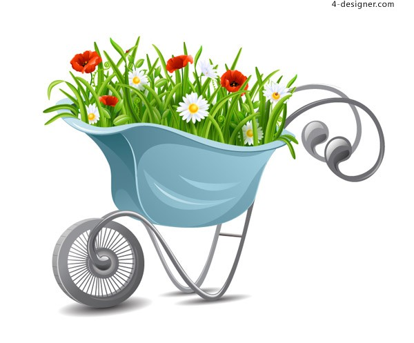 Cartoon Flower trolley vector material