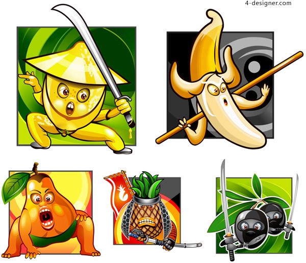 Cartoon Fruit Samurai vector material