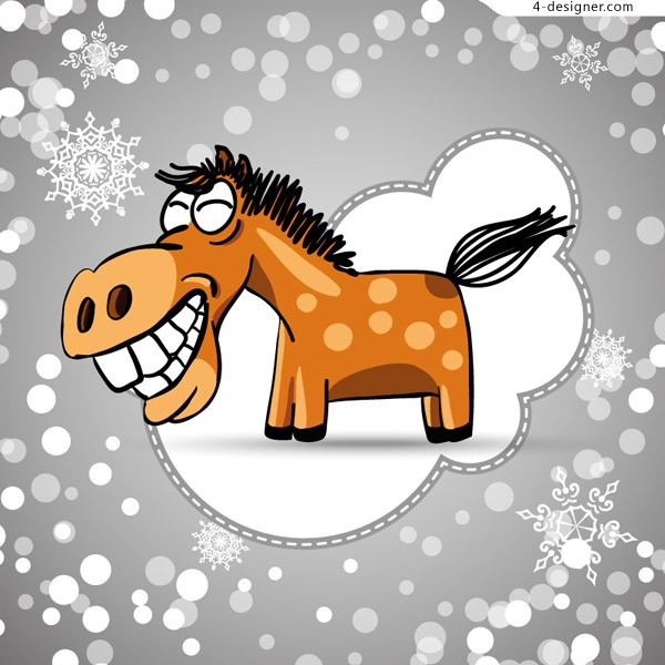 Cartoon Horse design vector material