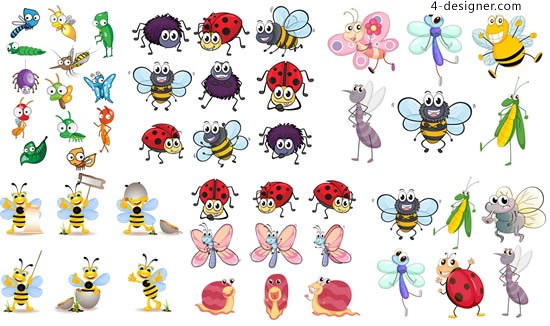Cartoon Insects Illustrations vector material