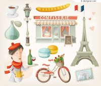 Cartoon Paris element vector material