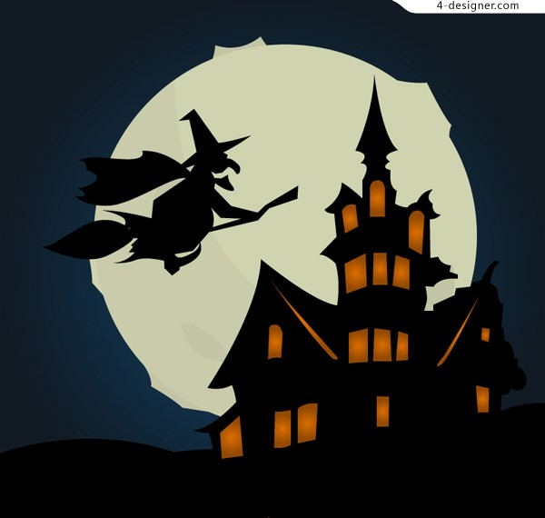 Cartoon Witch Castle vector material