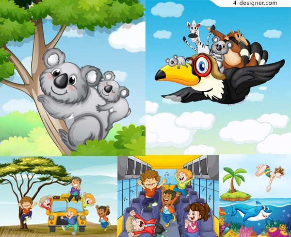 Cartoon background vector material