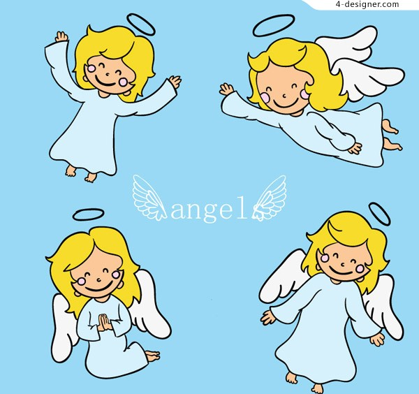 Cartoon blonde angel vector material