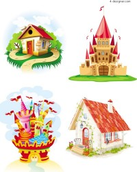 Cartoon castle and house vector material