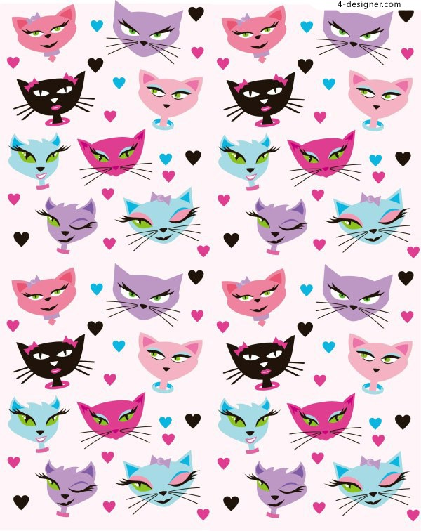 Cartoon cat background vector material