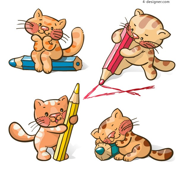Cartoon cat with a pencil vector material