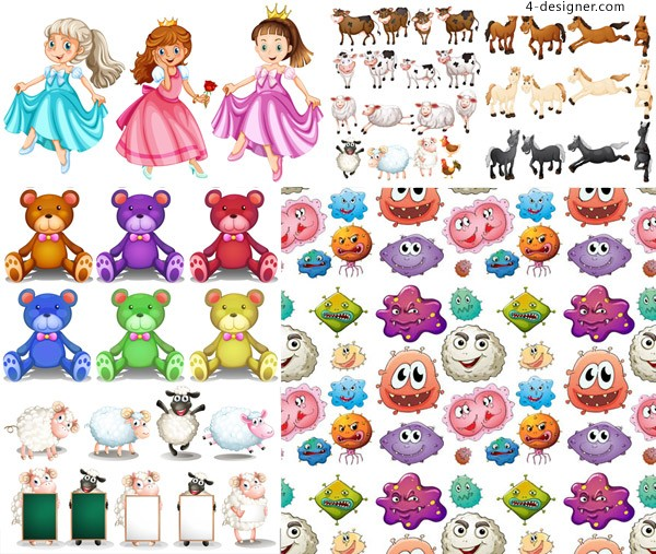 Cartoon characters and animals vector material