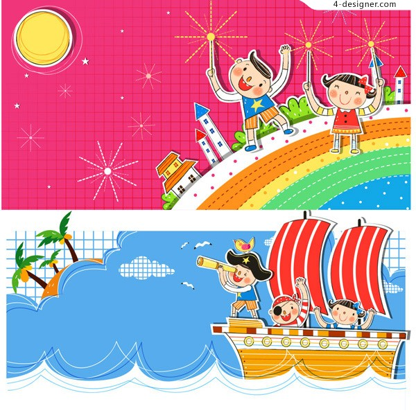 Cartoon children s playground vector material