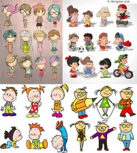 Cartoon children vector material