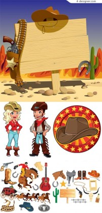 Cartoon cowboy cartoon vector material