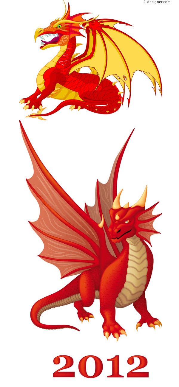 Cartoon dragon vector material