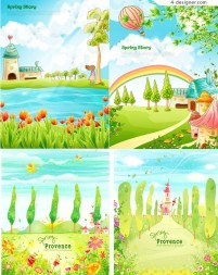 Cartoon fairy tale landscape vector material