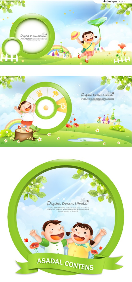 Cartoon fairy tale world vector material