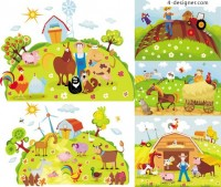 Cartoon farm vector material
