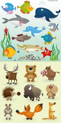Cartoon fish land animal vector material