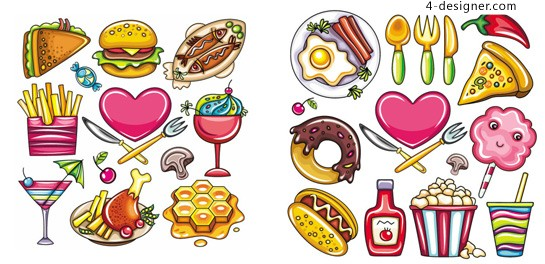 Cartoon food vector material