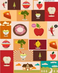 Cartoon fruit food vector material