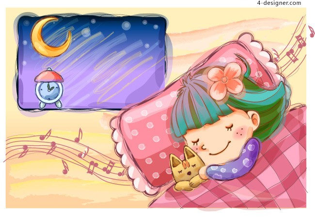 Cartoon girl sleeping vector material