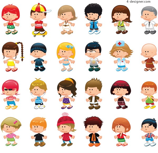 Cartoon images of children vector material