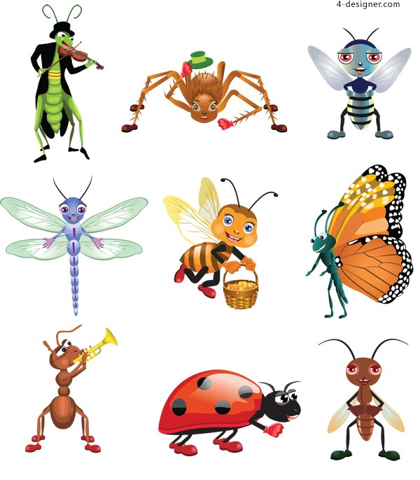 Cartoon insect image vector material