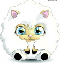 Cartoon lamb design vector material