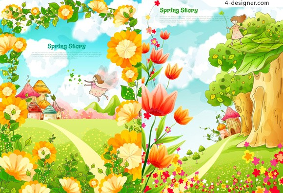 Cartoon landscape filled with flowers vector material
