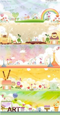 Cartoon landscape vector material