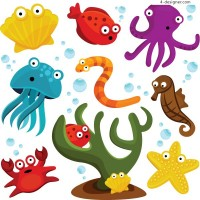 Cartoon marine life vector material