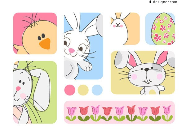 Cartoon rabbit and chick vector material