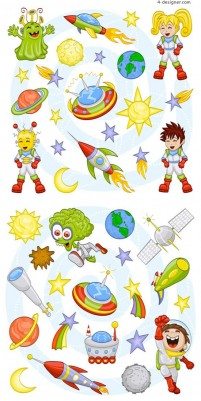 Cartoon space exploration vector material