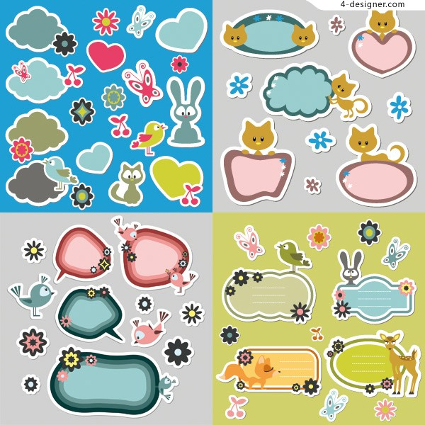 Cartoon stickers vector material