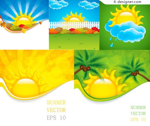 Cartoon sun clouds vector material