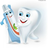 Cartoon tooth with toothpaste vector material