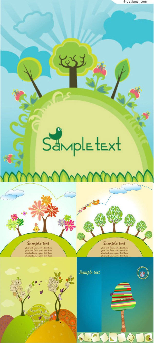 Cartoon tree background vector material
