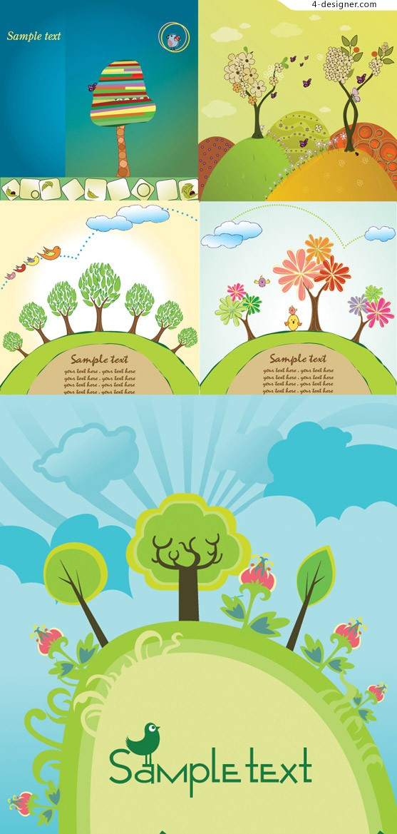Cartoon tree cartoon vector material
