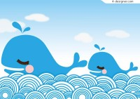 Cartoon whale vector material
