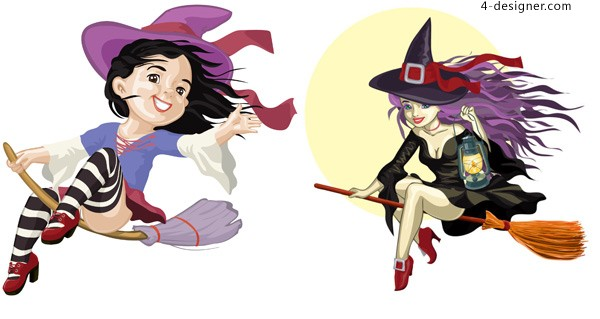 Cartoon witch vector material