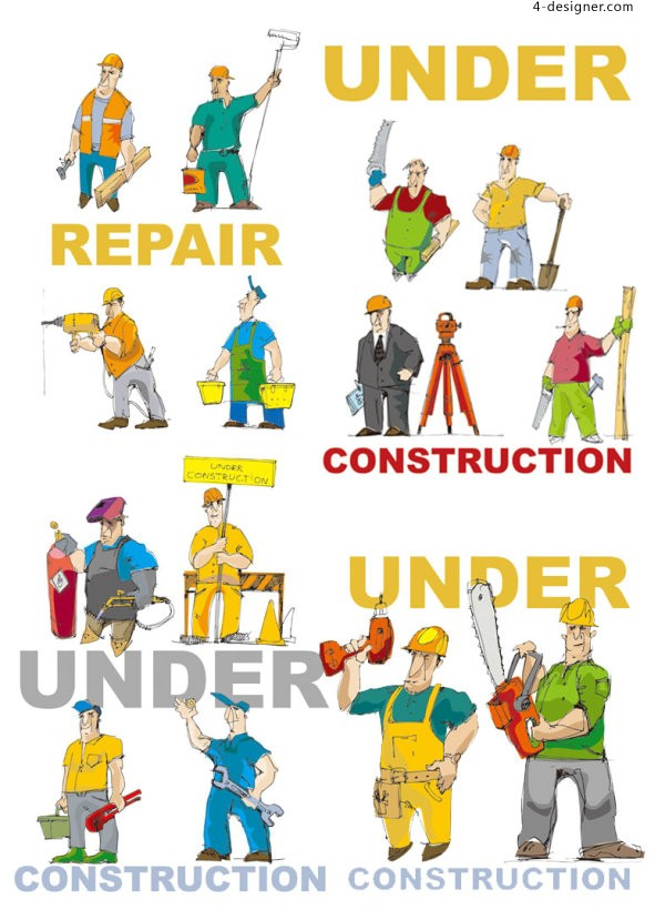 Cartoon workers and Tools vector material