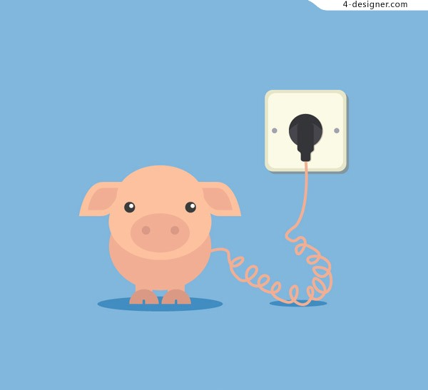 Charging cartoon pig background vector material