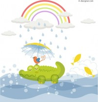 Childlike illustration crocodile vector material