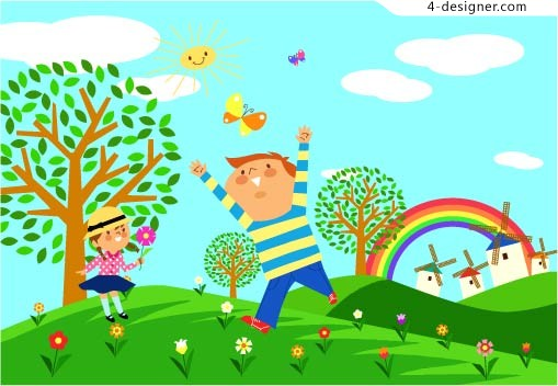 Children Ecological Environment 1 vector material