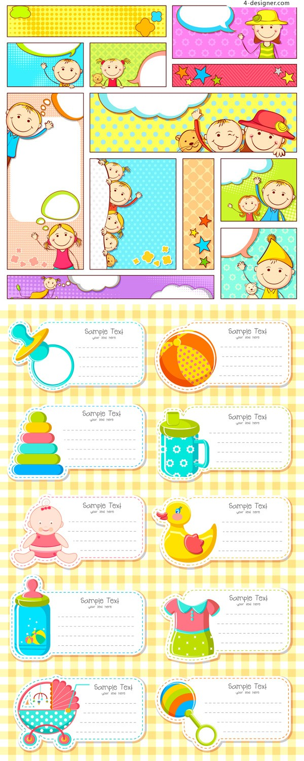 Children cards vector material