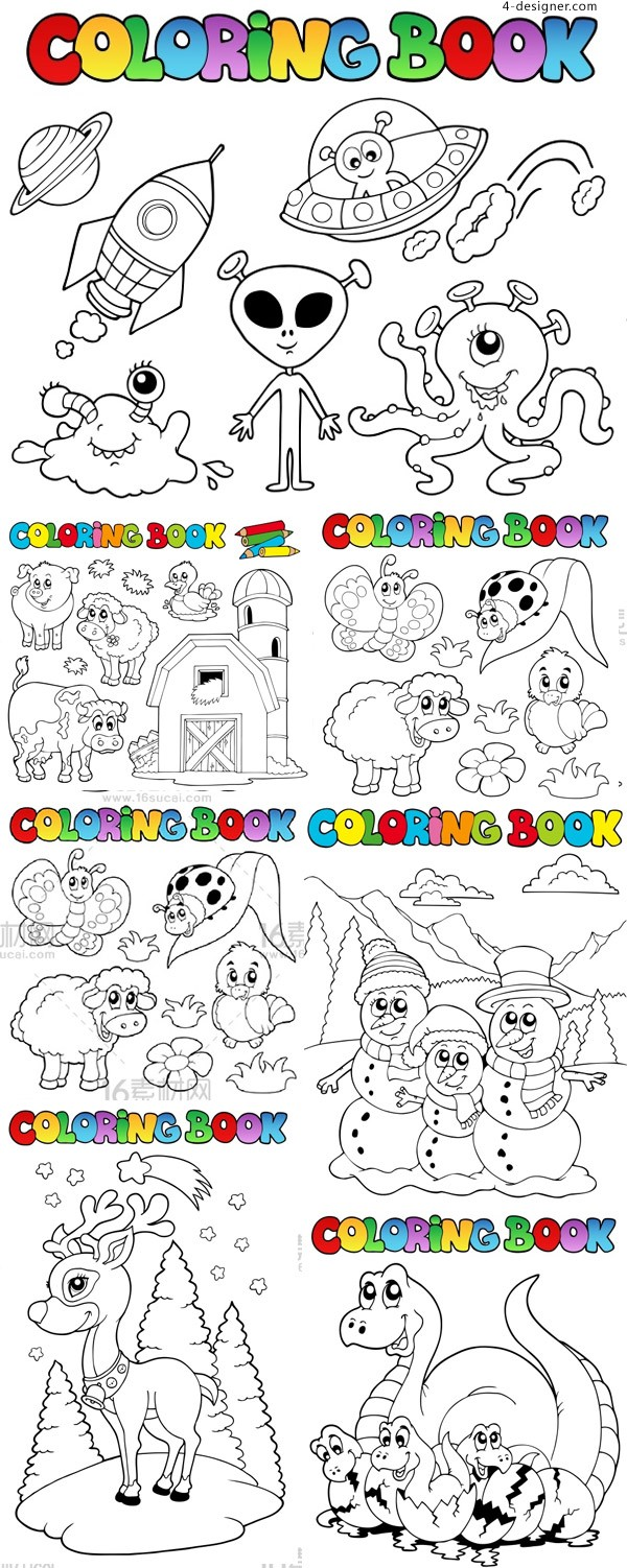 Children color painting template vector material