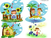 Children s summer Vector 2 vector material